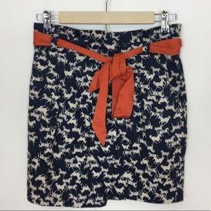 H & M equestrian horse print paper bag waist skirt